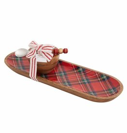 MUDPIE Santa Tartan Tray and Dip set