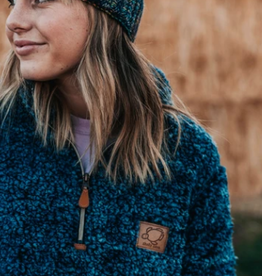 SHELLY COVE Navy Sherpa Pullover Small