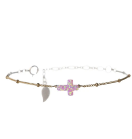 BARA BOHEME JEWELRY Opal Sideways Cross Bracelet Bubblegum
