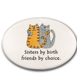 AUGUST CERAMICS Round Dish 2 Cats: Sisters by Birth. . .
