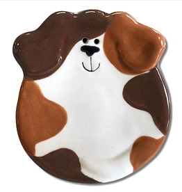 "AUGUST CERAMICS 3"" Mini Dog Dish: Tan and Dark Brown Spots"