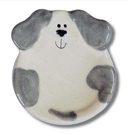 "AUGUST CERAMICS 3"" Mini Dog Dish: Spotted White and Gray"