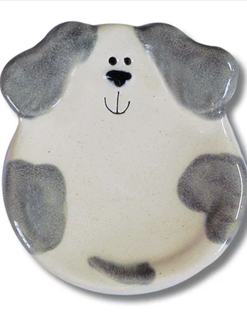 """AUGUST CERAMICS 3"""" Mini Dog Dish: Spotted White and Gray"""