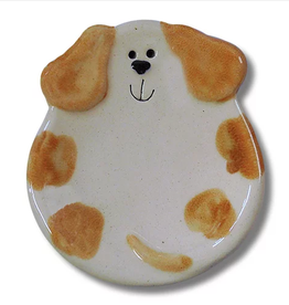 "AUGUST CERAMICS 3"" Mini Dog Dish: Spotted White and Orange"