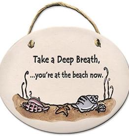 AUGUST CERAMICS Oval Plaque Seashells: Take a Deep Breath