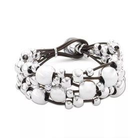 UNO DE 50 Multivitaminas Bracelet - Silver Balls on Leather