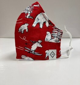 VERA BRADLEY Fitted Face Mask Cotton Beary Merry Red  with Adjusters