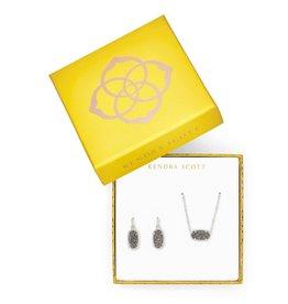 KENDRA SCOTT Elisa Satellite Necklace & Lee Earrings Gift Set In Platinum Drusy