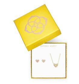 KENDRA SCOTT Ari Heart Necklace & Earrings Gift Set In Light Pink Kyocera Opal