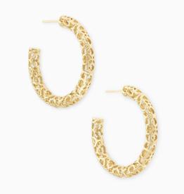 KENDRA SCOTT Maggie Small Hoop Earrings in Gold Filigree