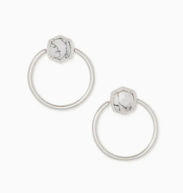 KENDRA SCOTT Davie Hoop Earring Rhodium White Howlite