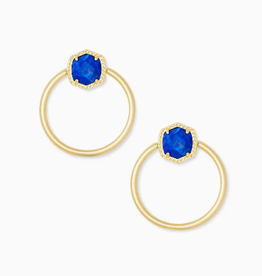 KENDRA SCOTT Davie Hoop Earring Gold Cobalt Howlite