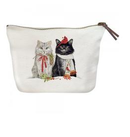 MARY LAKE THOMPSON Cats Cardinal & Chickadee Canvas Pouch