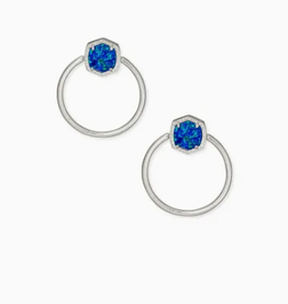 KENDRA SCOTT Davie Hoop Earring Rhodium Royal Blue Opal