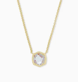 KENDRA SCOTT Davie Short Pendant Necklace Gold Dichroic Glass