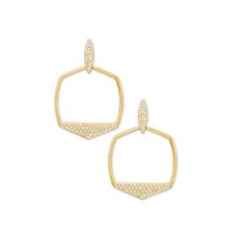 KENDRA SCOTT Earrings Selena Open Frame Gold White CZ