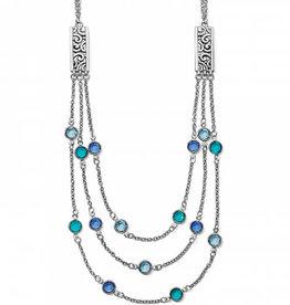 BRIGHTON Elora Gems Multi Layer Necklace SILVER-BLUES