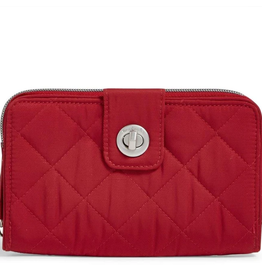 VERA BRADLEY RFID Turnlock Wallet Cardinal Red Performance Twill