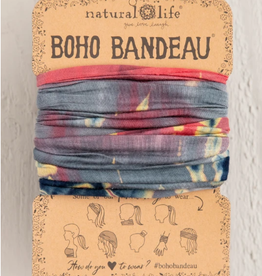 NATURAL LIFE CREATIONS Boho Bandeau Grey/Coral TieDye