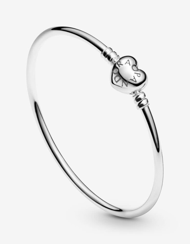 PANDORA Moments Heart Clasp Bangle Size 6.7