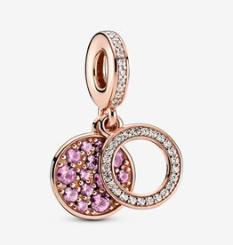 PANDORA Sparkling Pink Disc Double Dangle Charm