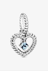 PANDORA Water Blue Beaded Heart Dangle Charm