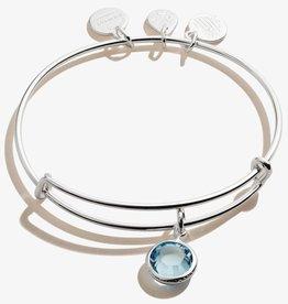 ALEX AND ANI Charm Bangle Aquamarine March Birthstone in  Shiny Silver