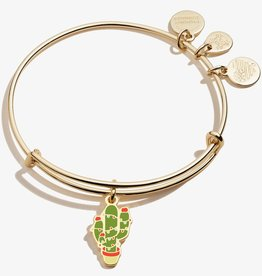 ALEX AND ANI Charm Bangle Holiday Cactus , Shiny Gold