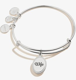 ALEX AND ANI Charm Bangle Because I Love You Wife, Shiny Antique Silver