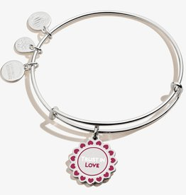 ALEX AND ANI Charm Bangle Color Infusion Trust in Love, Shiny Silver