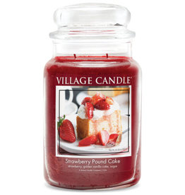 STONEWALL KITCHEN Village Candle Strawberry Pound Cake Large Dome Jar