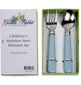GOLDEN RABBIT II Blue Baby Flatware Set