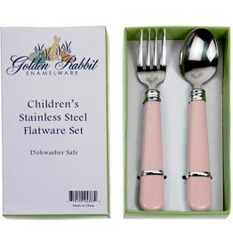 GOLDEN RABBIT II Pink Baby Flatware Set