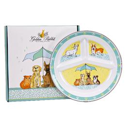 GOLDEN RABBIT II Raining Cats & Dogs Toddler Plate