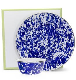GOLDEN RABBIT II Cobalt Swirl Dip Set/ Plate and Bowl