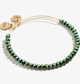 ALEX AND ANI Beaded Bangle Brilliance , Emerald in Shiny Gold