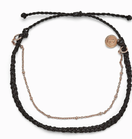 PURA VIDA Satellite Chain Rose Gold Anklet Black