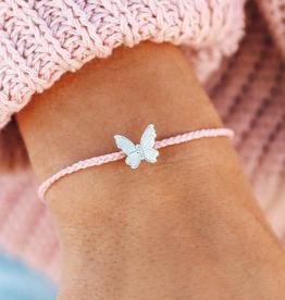 PURA VIDA Butterfly in Flight Silver Bracelet Baby Pink