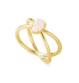 KENDRA SCOTT Emilie Double Band Ring Gold Iridescent Drusy