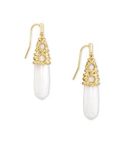 KENDRA SCOTT Earrings Natalie Drop  Gold White Mussel
