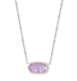 KENDRA SCOTT Elisa Satellite Pendant Necklace Rhodium Purple Amethyst