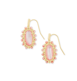 KENDRA SCOTT Earrings Beaded Lee Drop  Gold Rose Mother of Pearl