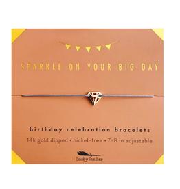 LUCKY FEATHER Birthday Celebration Bracelet Sparkly Birthday