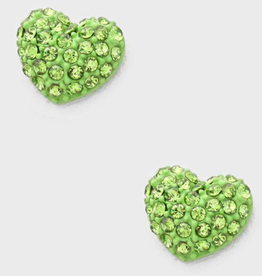 Green Crystal Heart Earrings Small