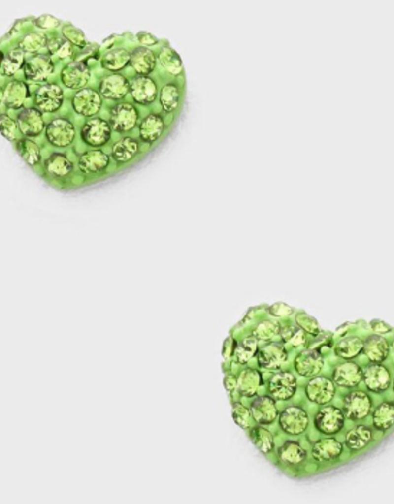 Green Crystal Heart Earrings Small