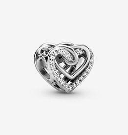 PANDORA 799270C01 Sparkling Entwined Hearts Charm,Sterling Silver