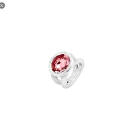 UNO DE 50 Silver Ring w/pink crystal