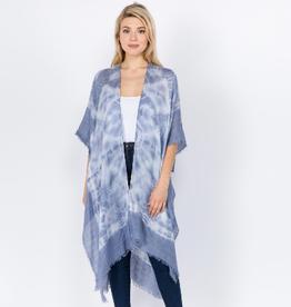 judson & co Blue Tie Dye Kimono w/fringe