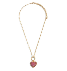 Druzy Heart Necklace Red