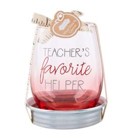 MUDPIE Fav Teacher Wine Coaster Set